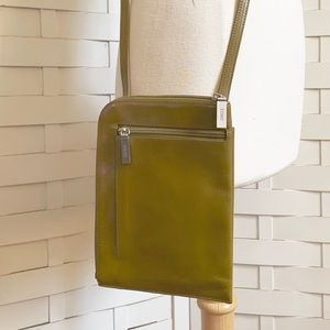 Small Hobo green leather crossbody bag